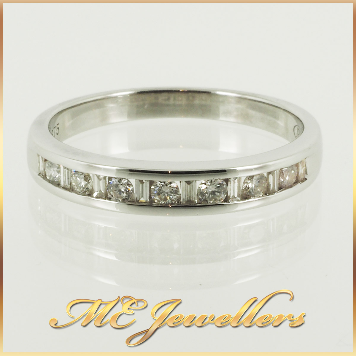 6730_ Mixed Cut Diamond Wedding Band 9K White gold (2)