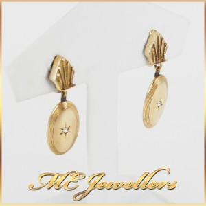 Vintage Diamond Earrings with Screw Backs in 14k Yellow Gold