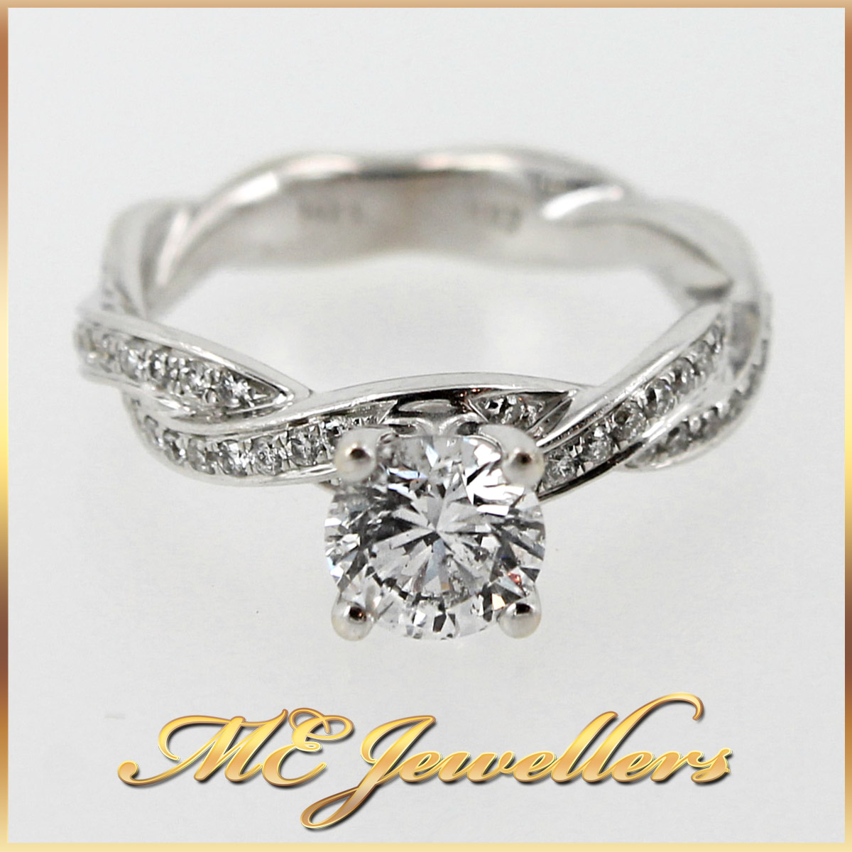 twisted band engagement ring with 1 47ct tdw diamonds in