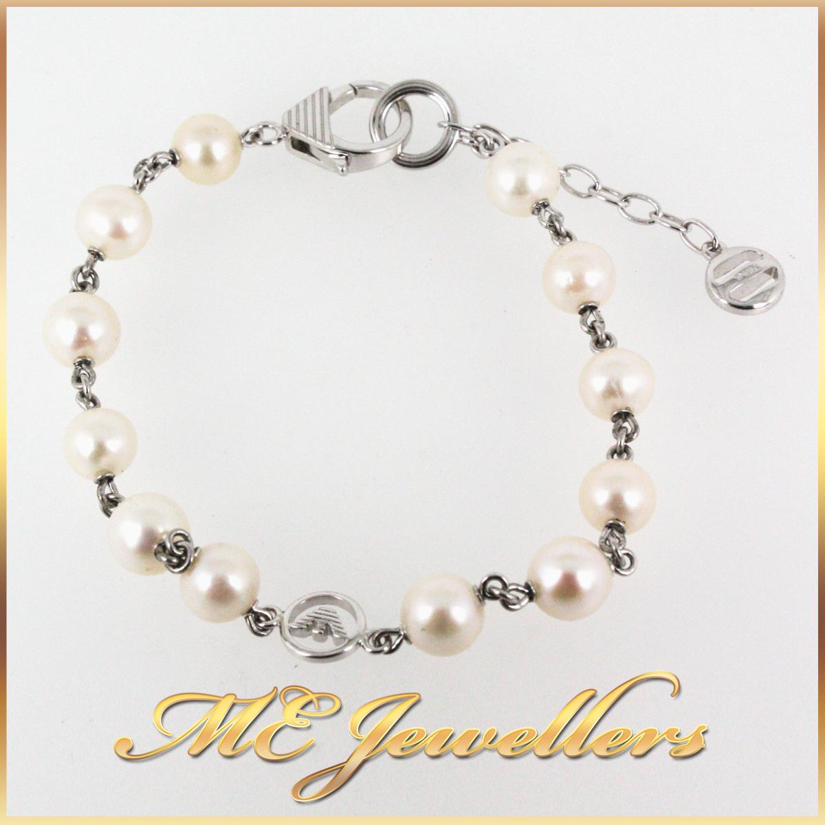 4676 Emporio Armani Pearl Bracelet in Silver main