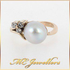 1154 Feminine Pearl Ring With Diamonds In 9K Yellow Gold main