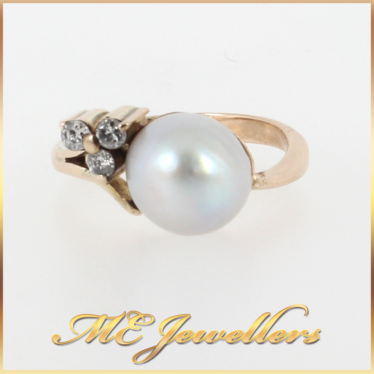 1154 Feminine Pearl Ring With Diamonds In 9K Yellow Gold main