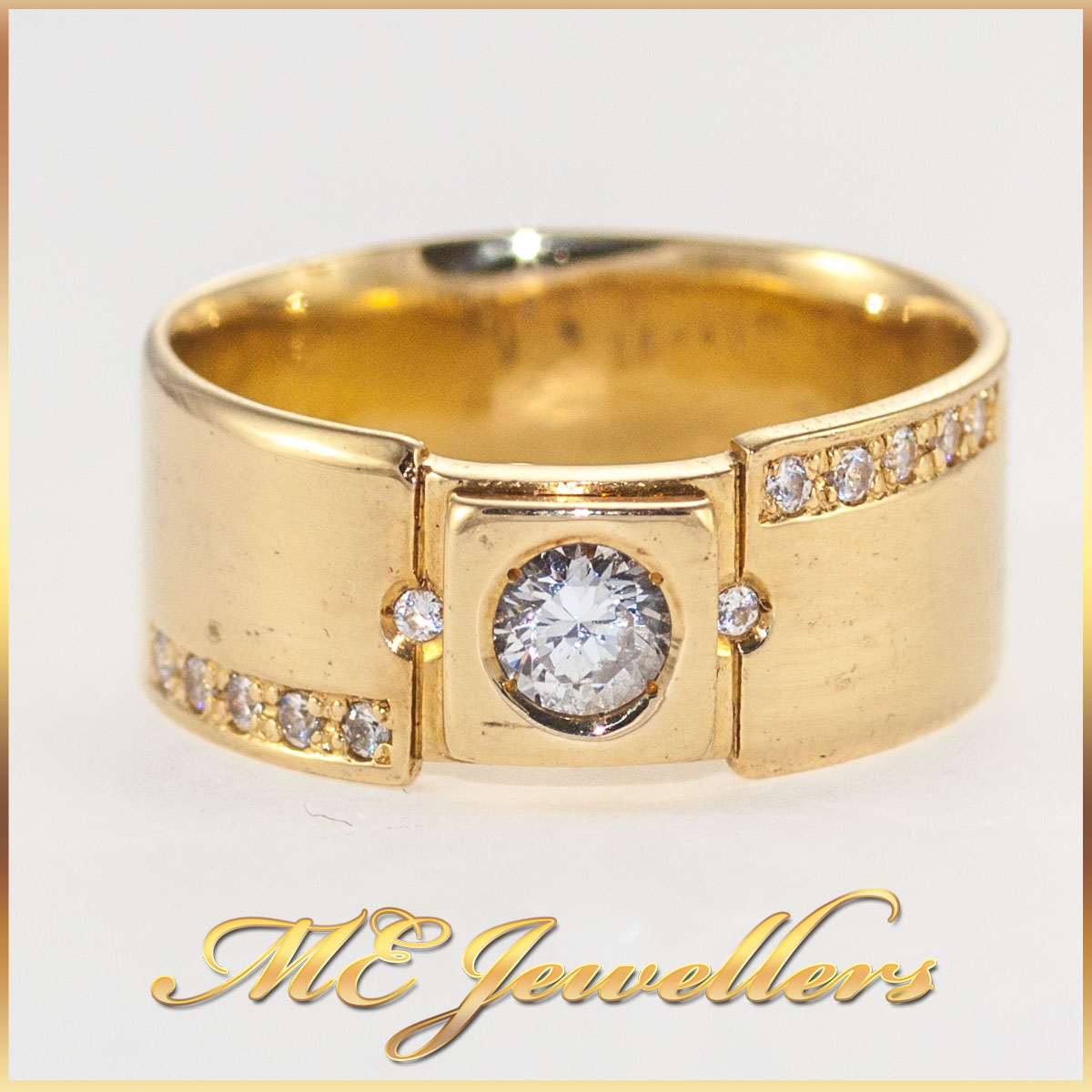 Wide Band Diamond Ring