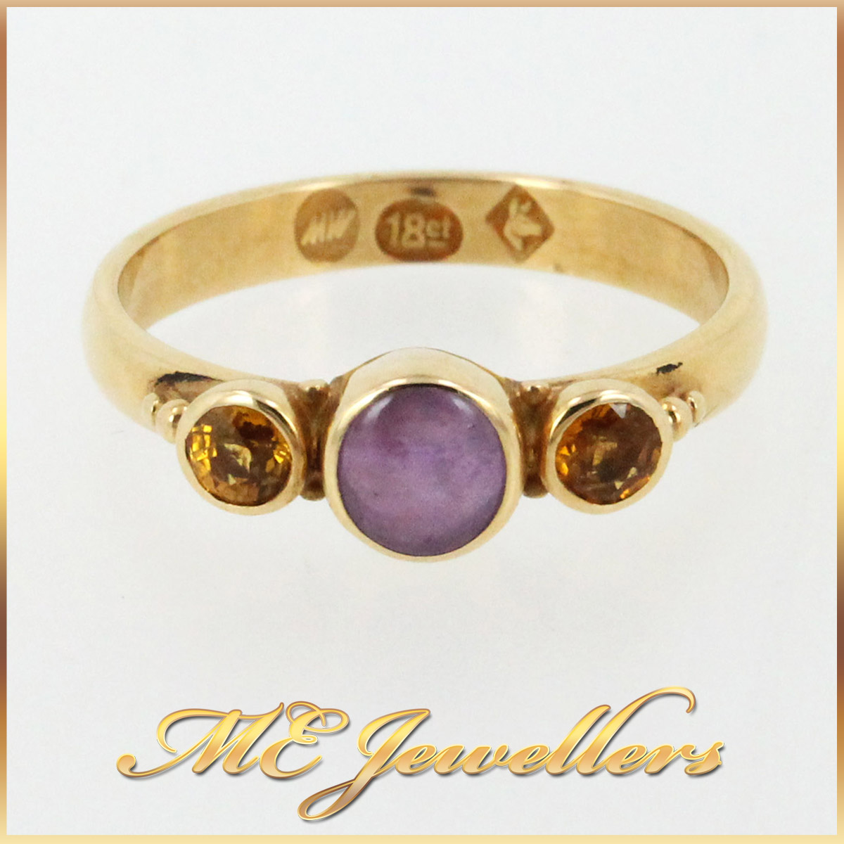 1308 Dress Ring With Pink Spinel And Citrine In 18K Yellow Gold Main