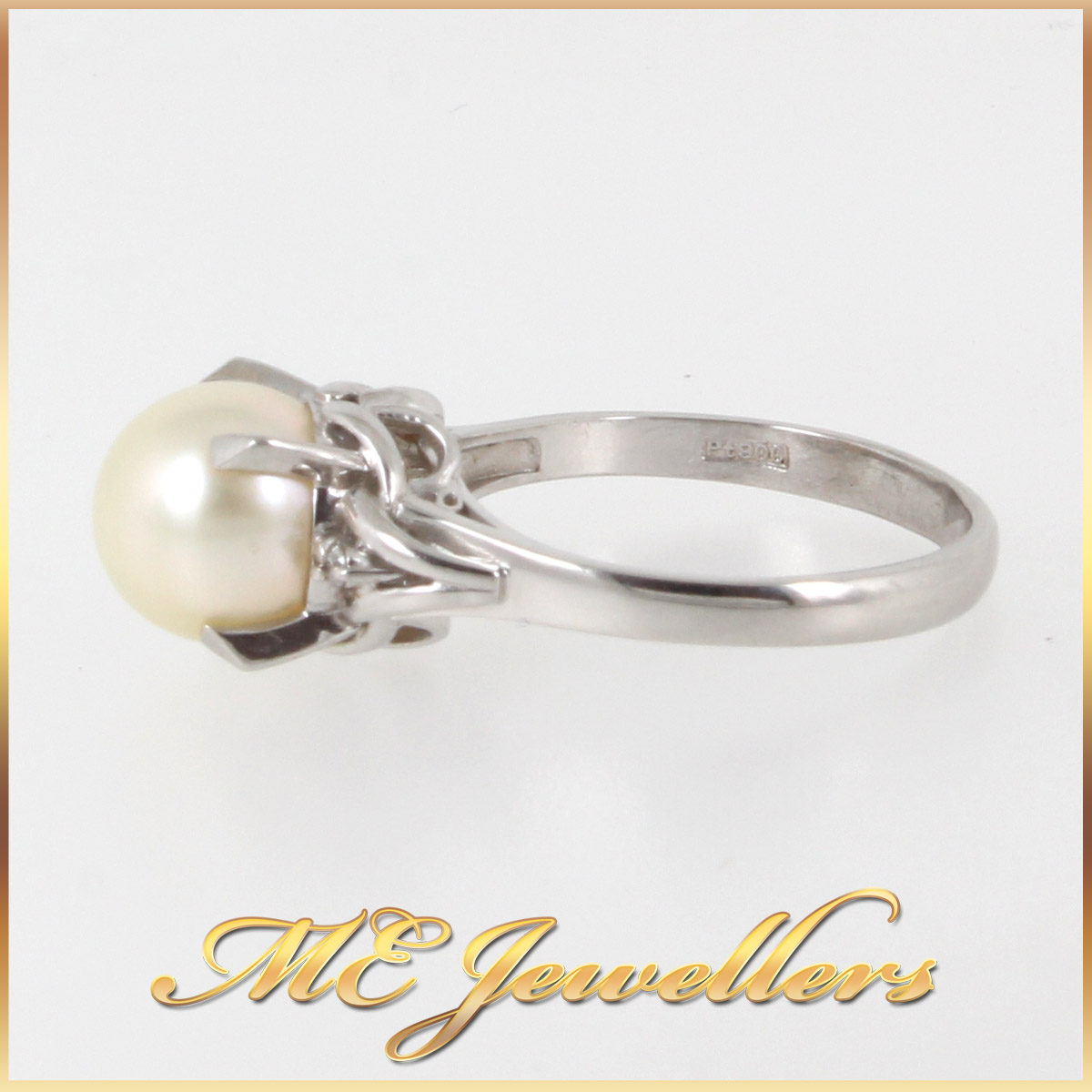 1377 Pearl Dress Ring In Platinum stamp