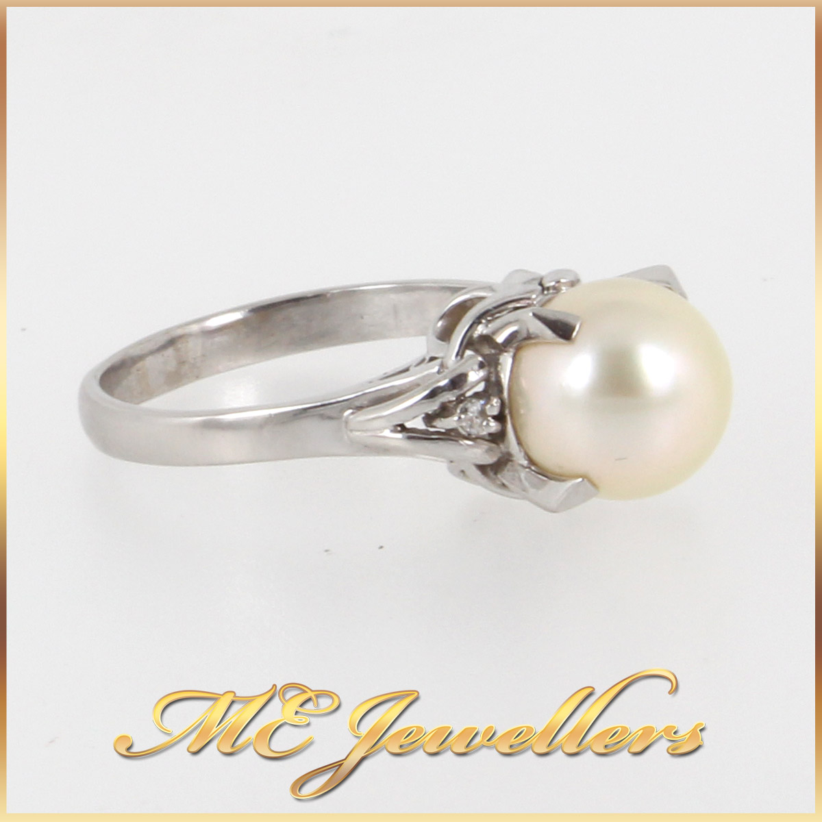 1377 Pearl Dress Ring In Platinum side 2