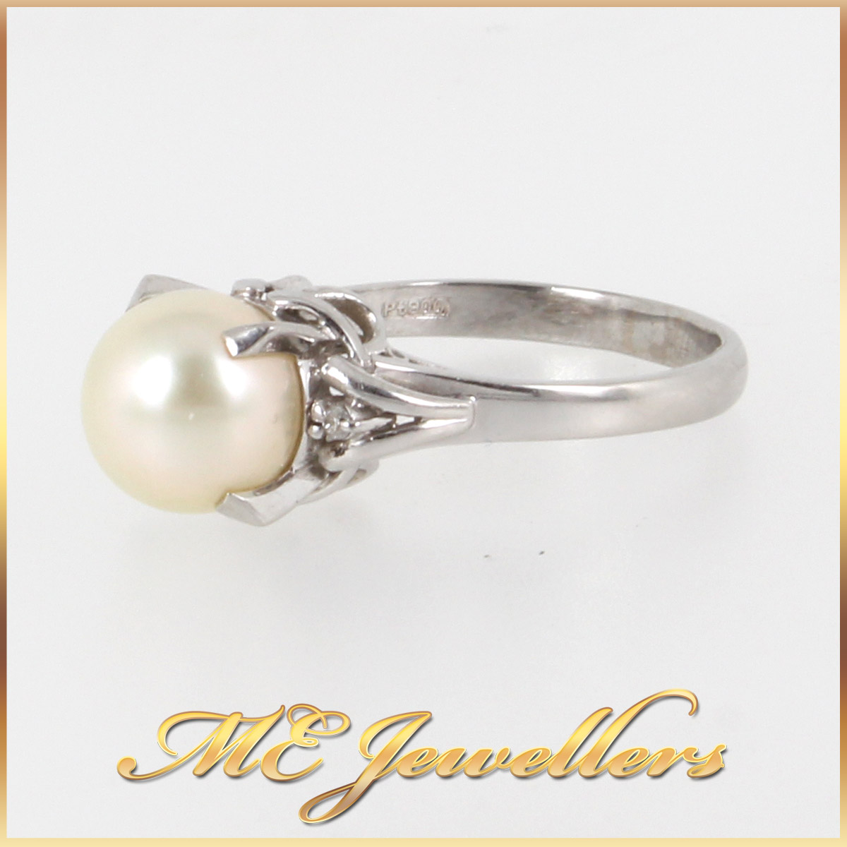 1377 Pearl Dress Ring In Platinum side 1