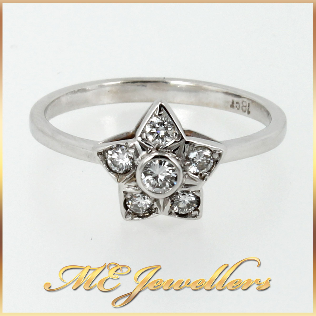 275 Floral Diamond Dress Ring in 18K White Gold main