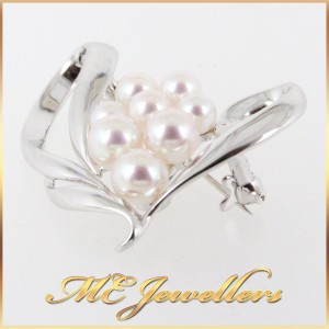 Pearl Brooch In 9K White Gold
