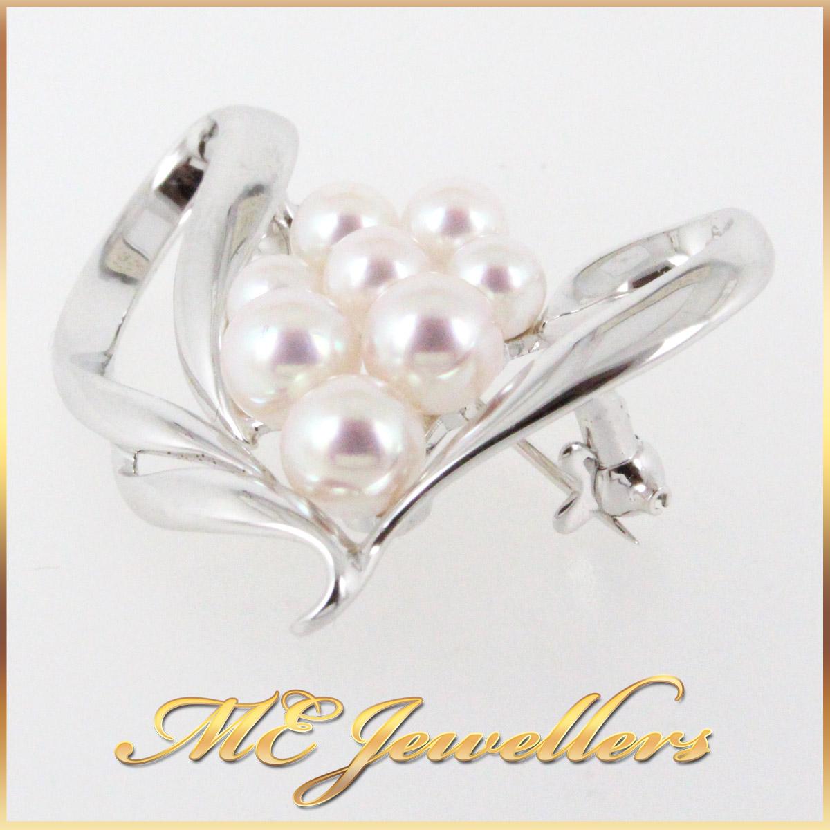 30672 Pearl Brooch in 9K White Gold side
