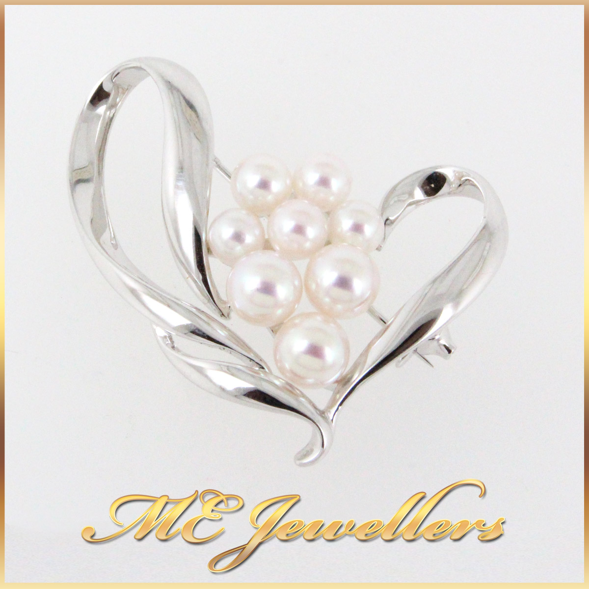 30672 Pearl Brooch in 9K White Gold main