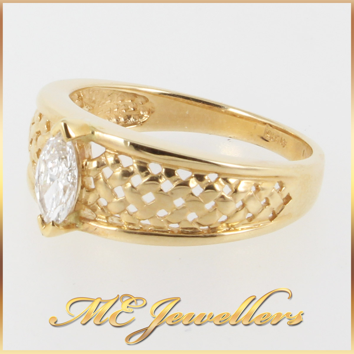 solid 14k 14ct yellow gold weave ring with 0 40ct marquise