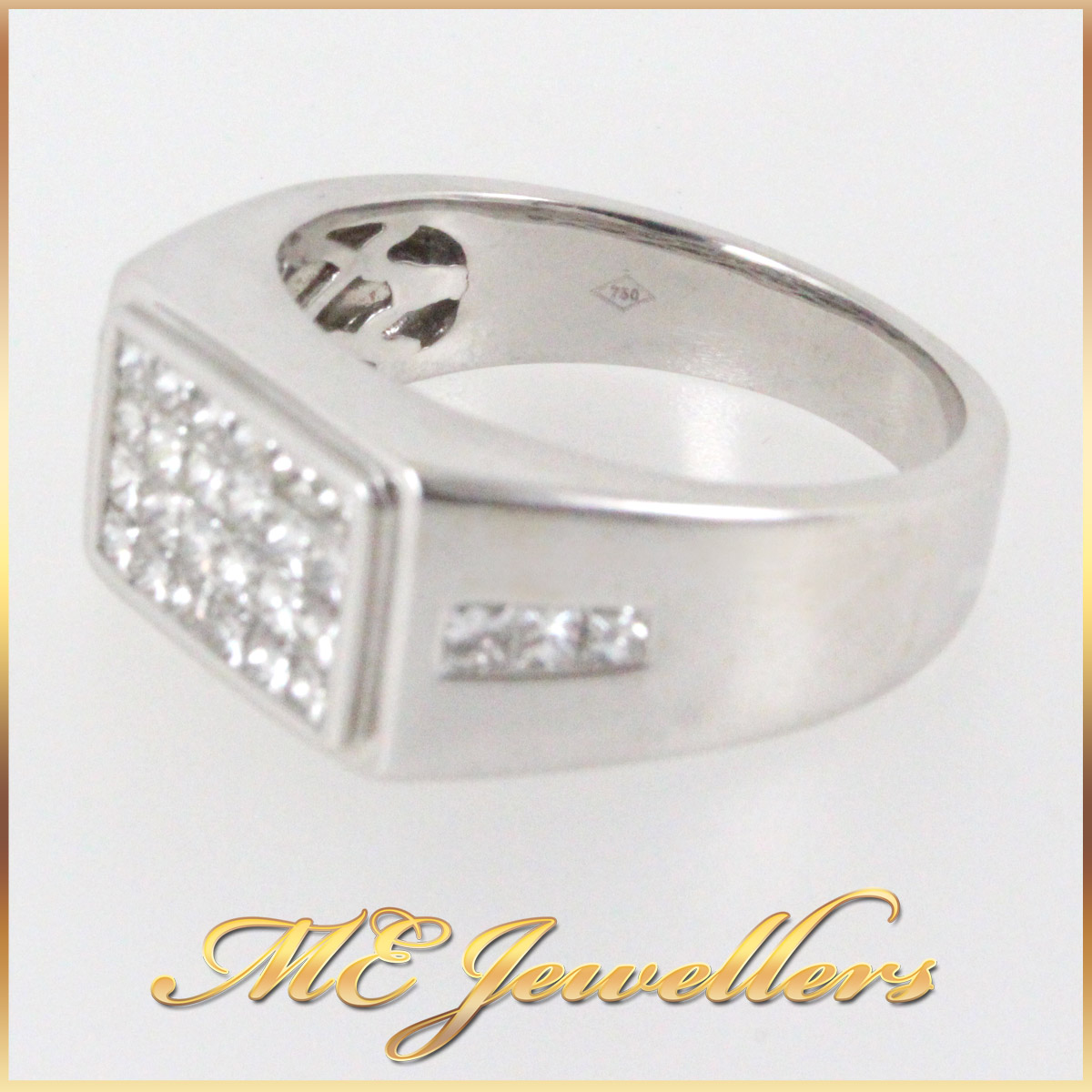 345 Mens Dress Ring With Illision Set Diamond in 18K White Gold stamp