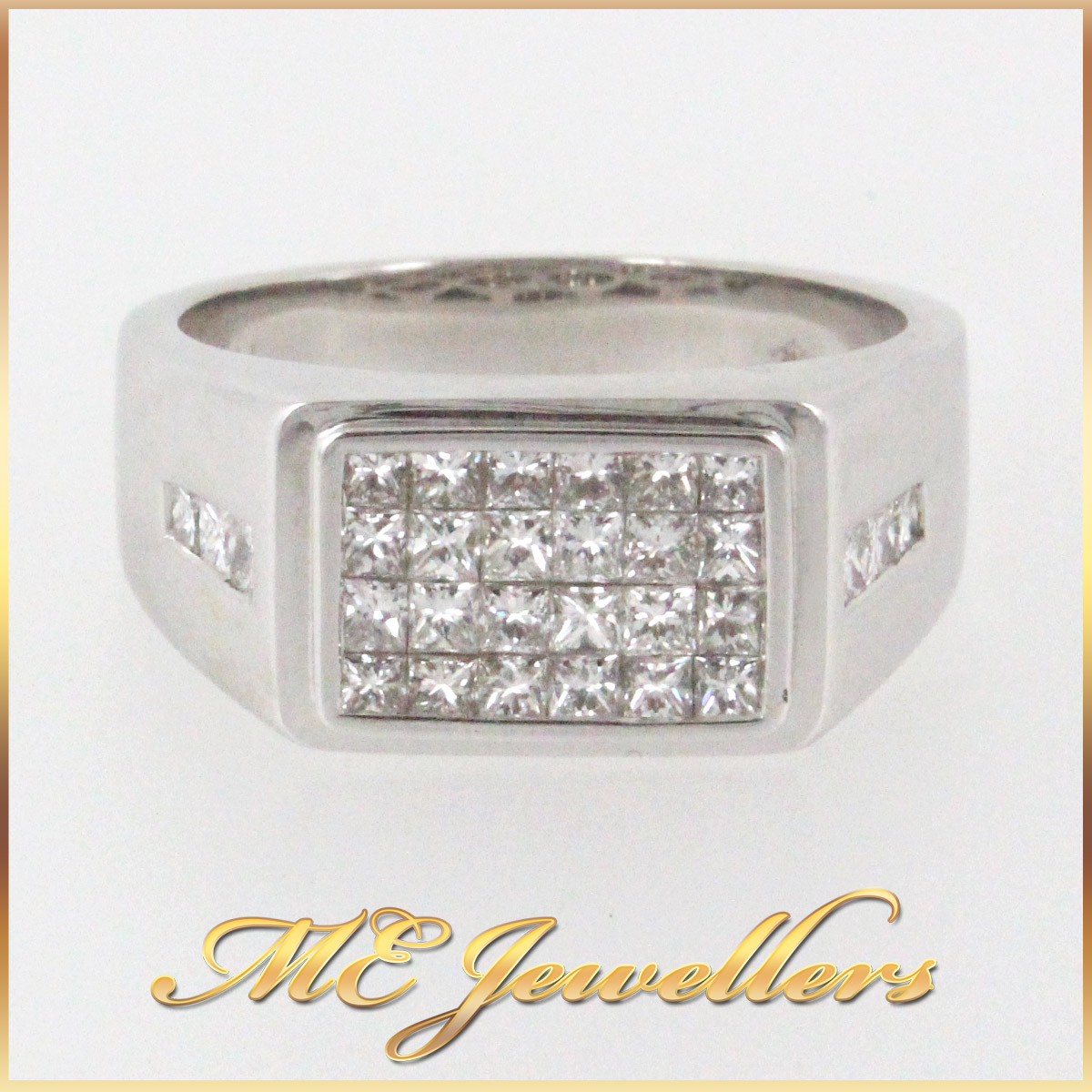 345 Mens Dress Ring With Illision Set Diamond in 18K White Gold front