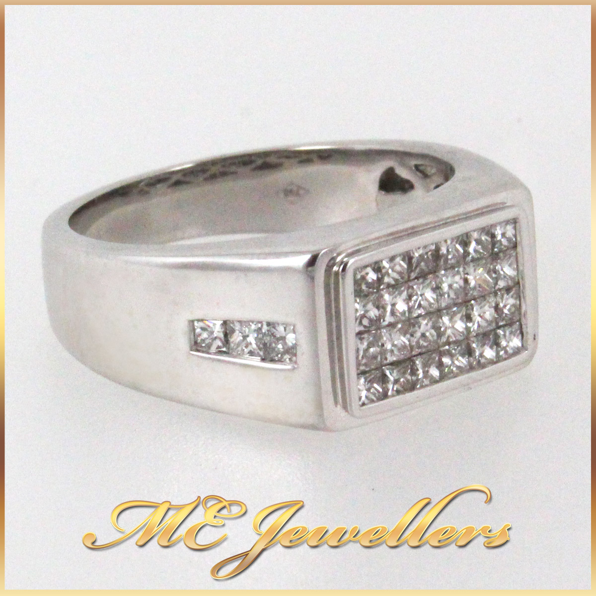 345 Mens Dress Ring With Illision Set Diamond in 18K White Gold side 2