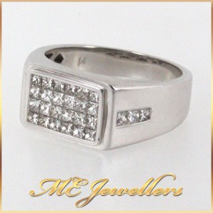 Mens Dress Ring With 1.27ct TDW Diamond 18K White Gold