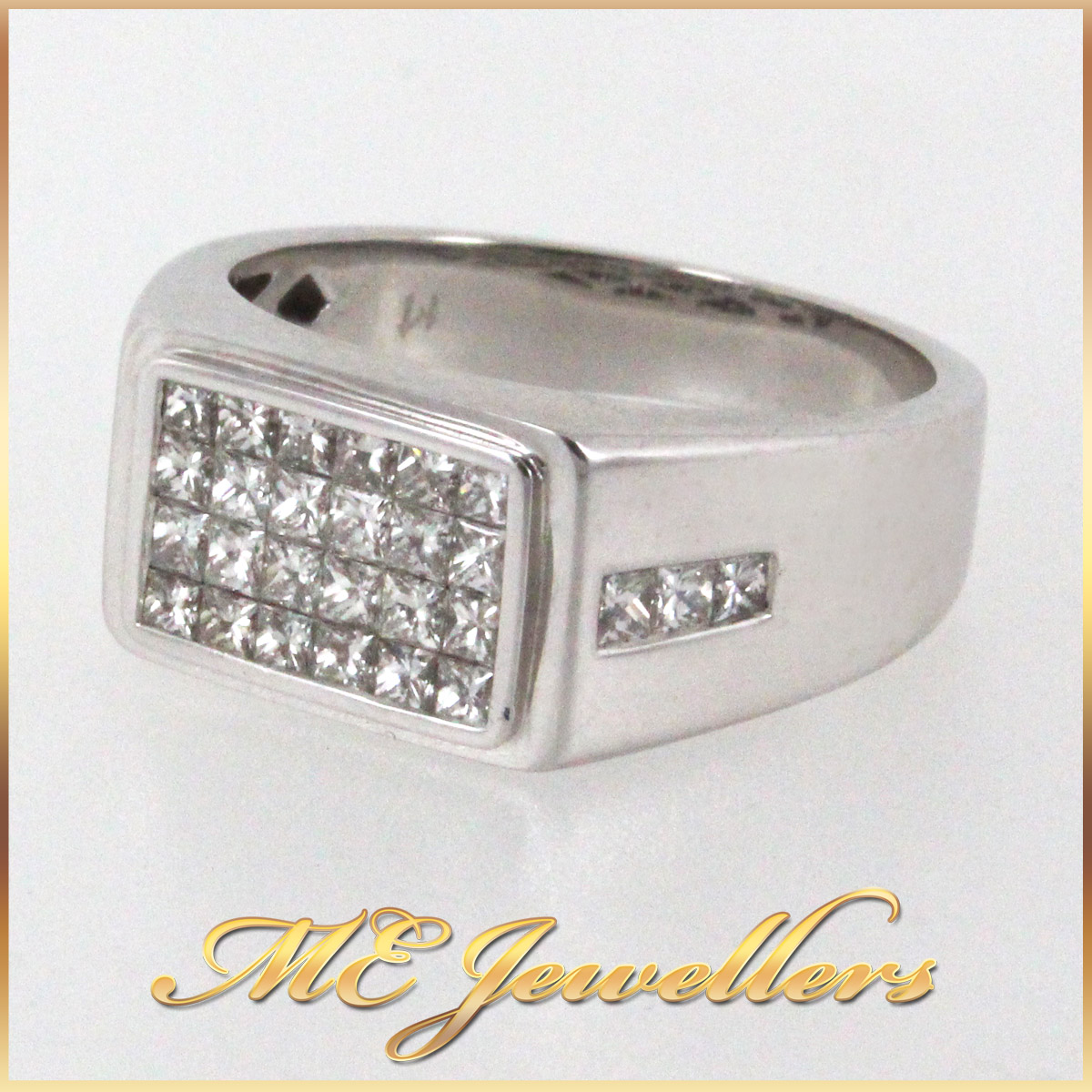 345 Mens Dress Ring With Illision Set Diamond in 18K White Gold side 1