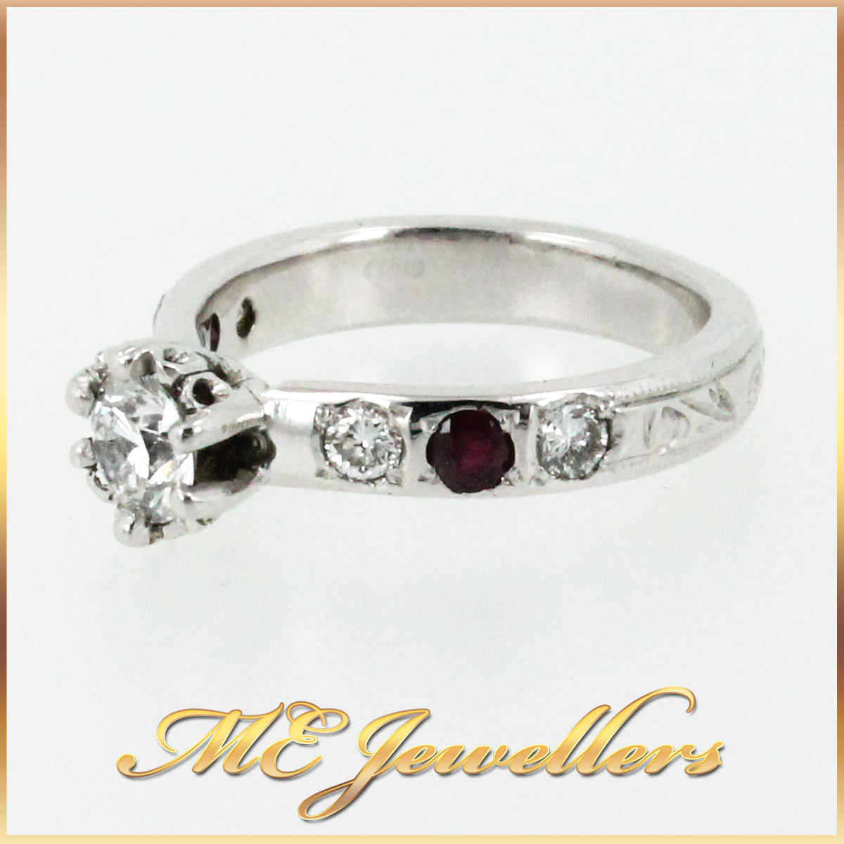 3671 Diamond and Ruby Engagement Ring side 2