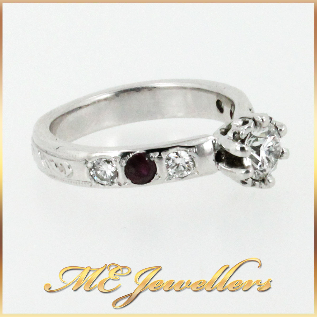 3671 Diamond and Ruby Engagement Ring side 1