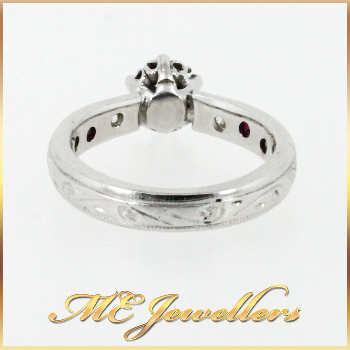 3671 Diamond and Ruby Engagement Ring band