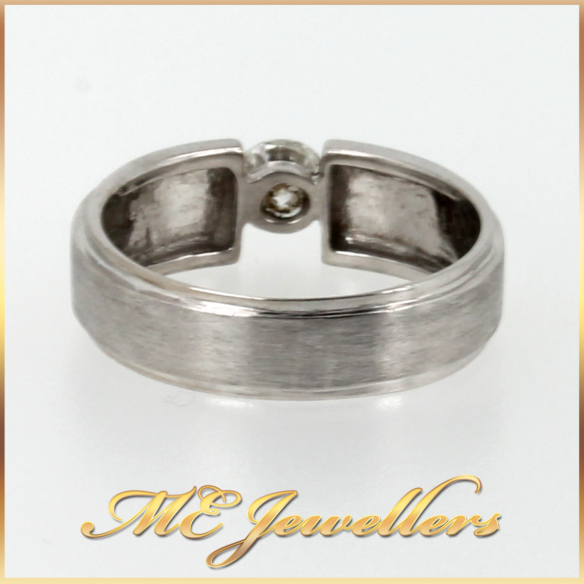 4228 Mens Wedding Band With Diamond In 18K White Gold band