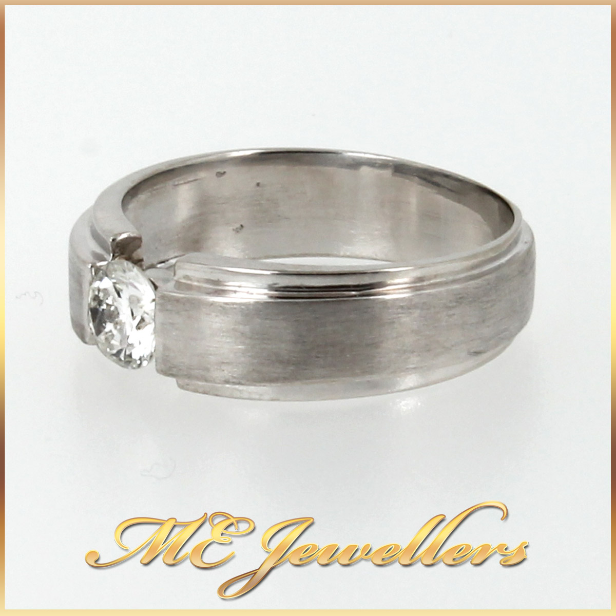 4228 Mens Wedding Band With Diamond In 18K White Gold side 1