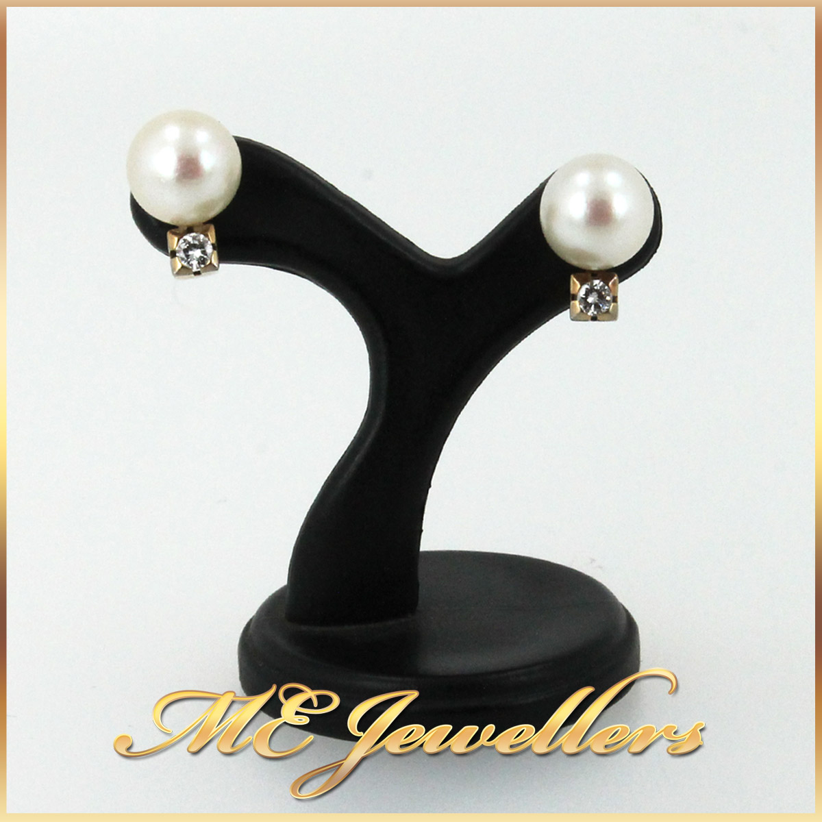 4879 Pearl Earrings With Diamonds In 9K Yellow Gold main