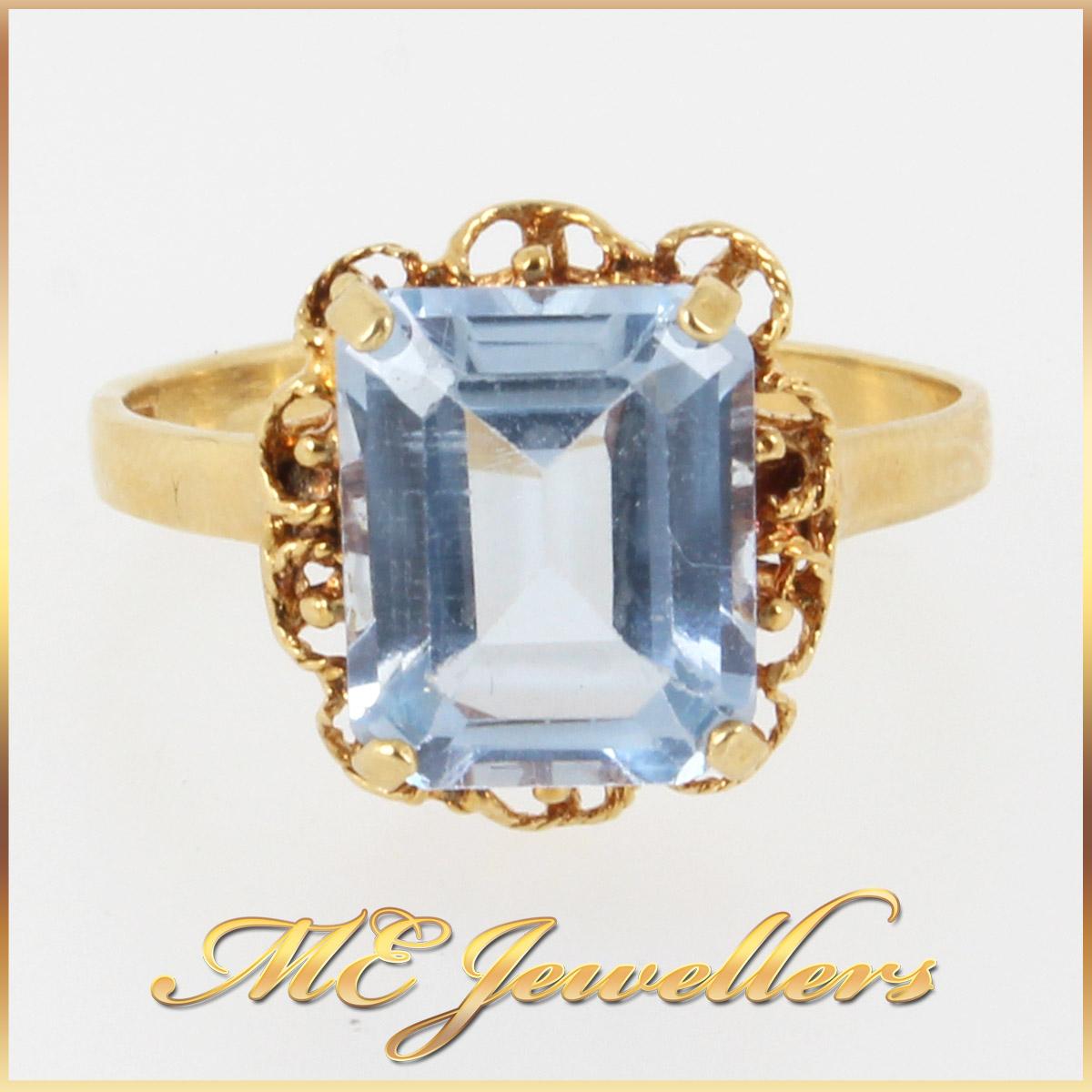 4958 3.40ct Aquamarine Ring In Emerald Cut 18K Yellow gold main