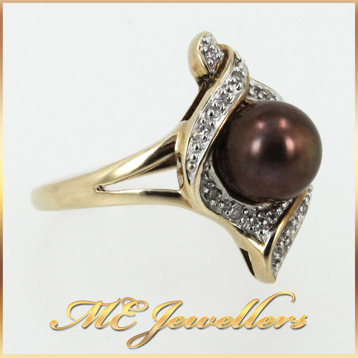 5658 Pearl Dress Ring in 9K Yellow Gold side 2