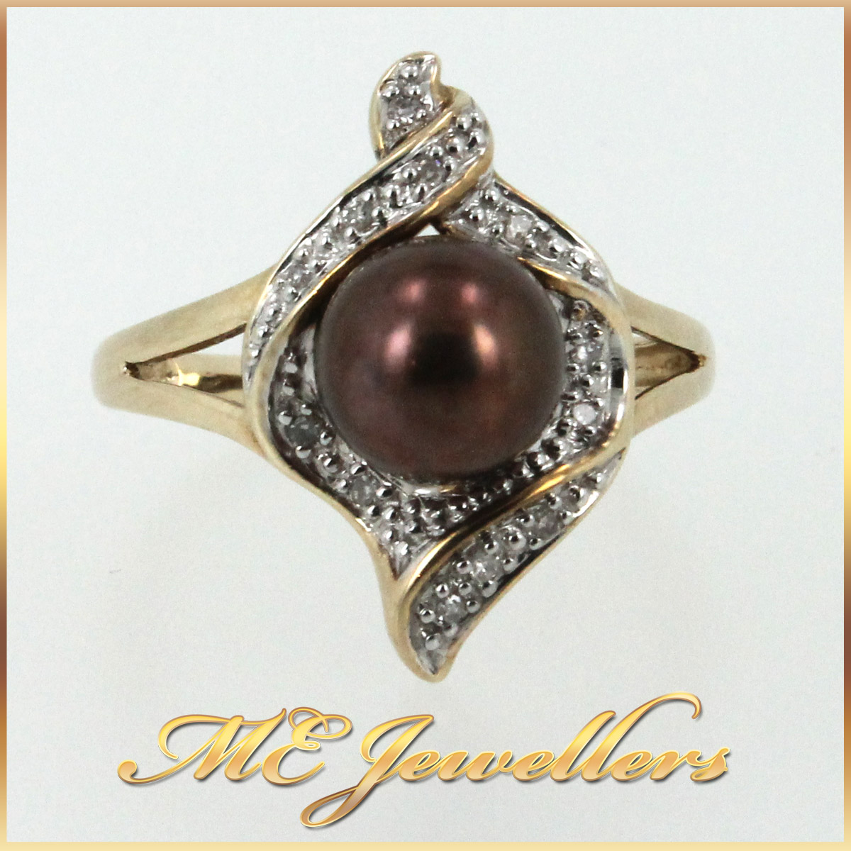 5658 Pearl Dress Ring in 9K Yellow Gold front