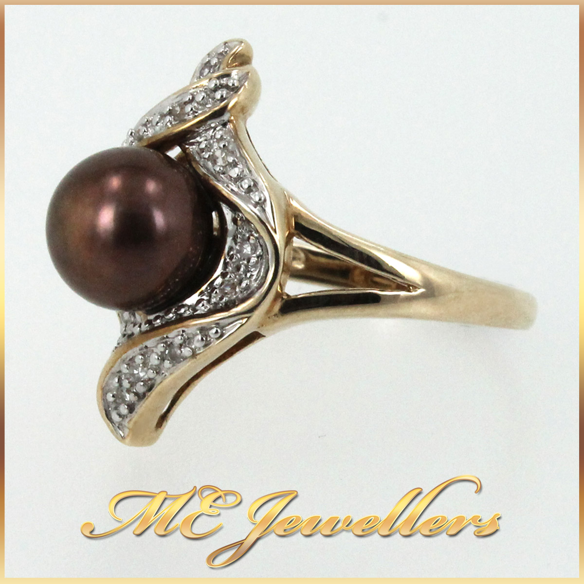 5658 Pearl Dress Ring in 9K Yellow Gold Side 1