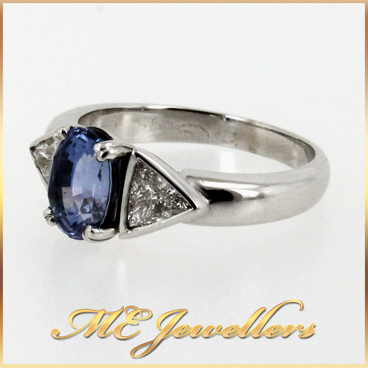 5980 Blue Sapphire Ring With Diamond in 18K White Gold side 1