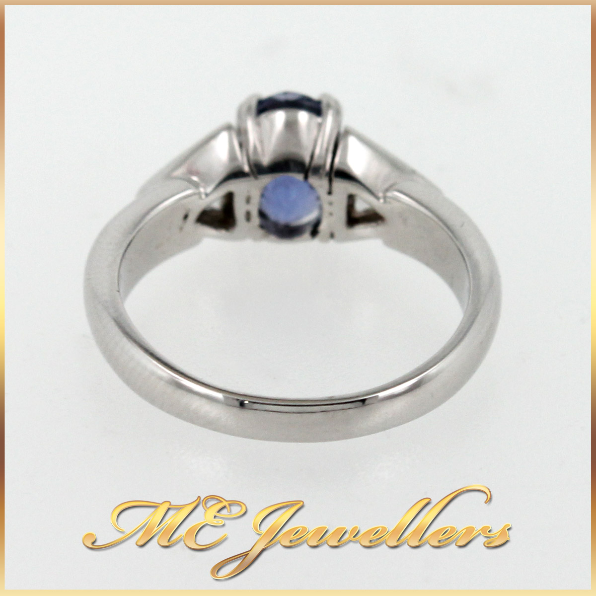 5980 Blue Sapphire Ring With Diamond in 18K White Gold band