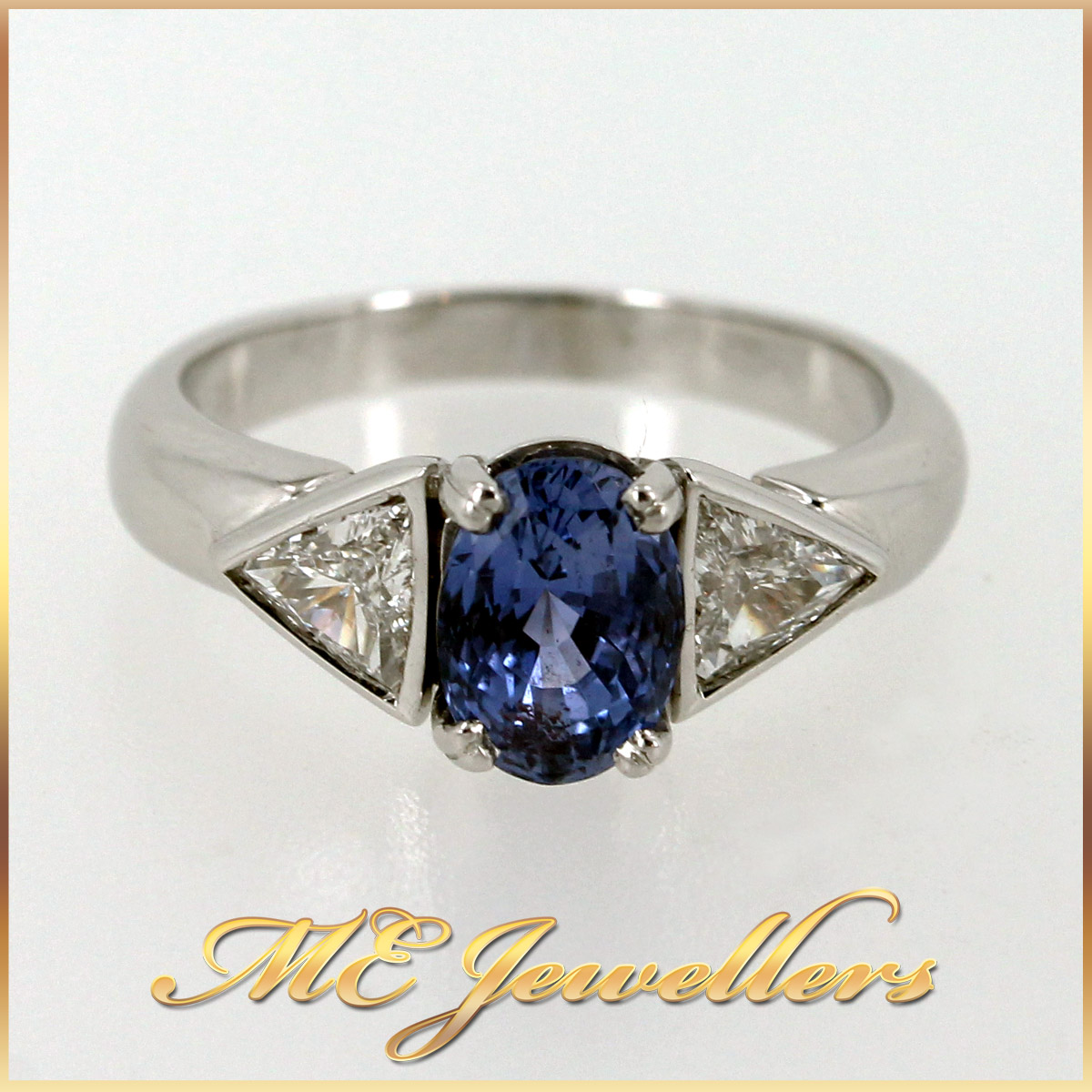 5980 Blue Sapphire Ring With Diamond in 18K White Gold main