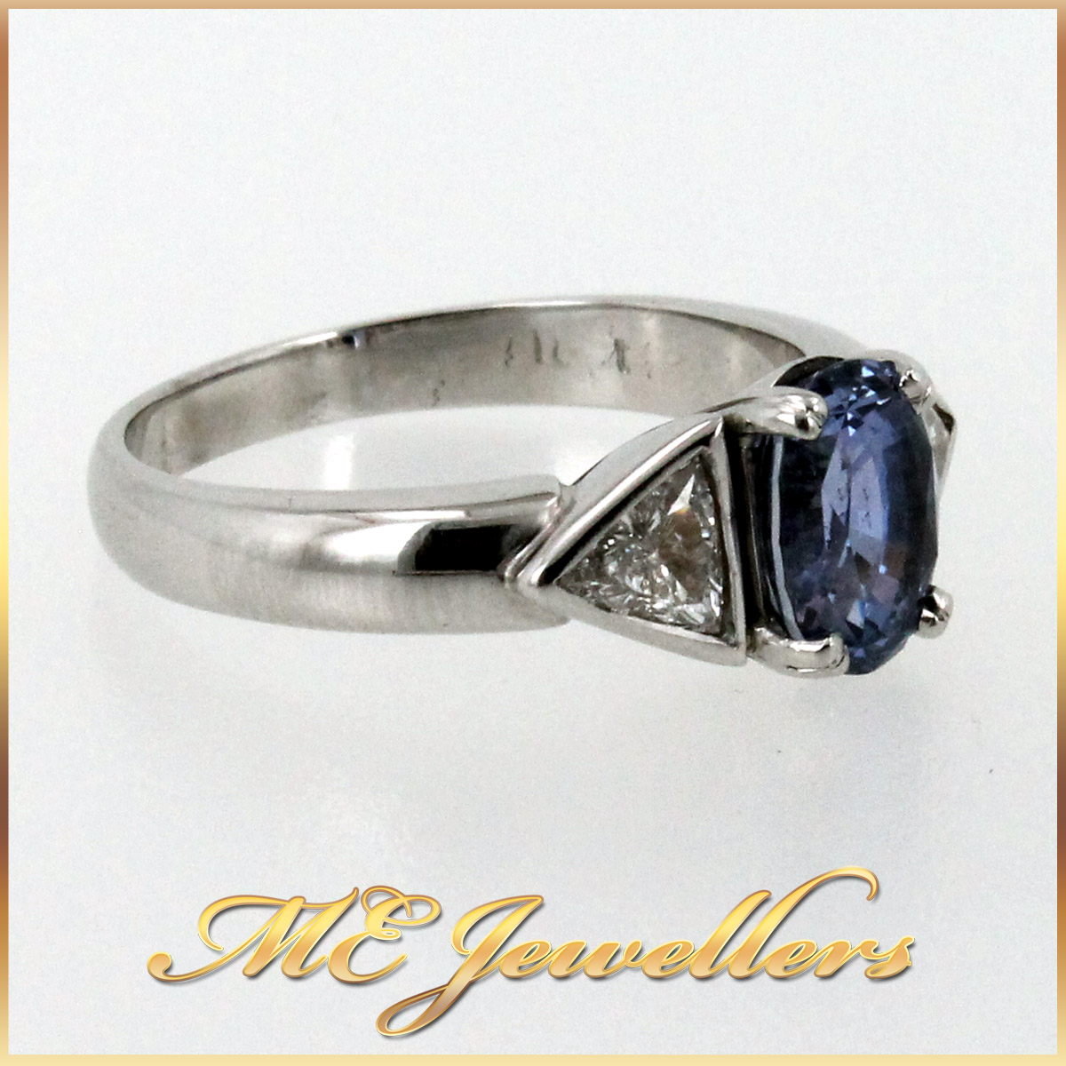 5980 Blue Sapphire Ring With Diamond in 18K White Gold side 2