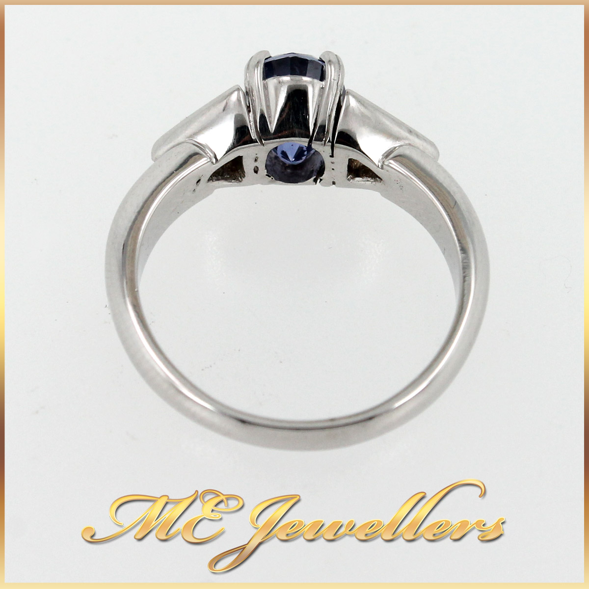 5980 Blue Sapphire Ring With Diamond in 18K White Gold top view