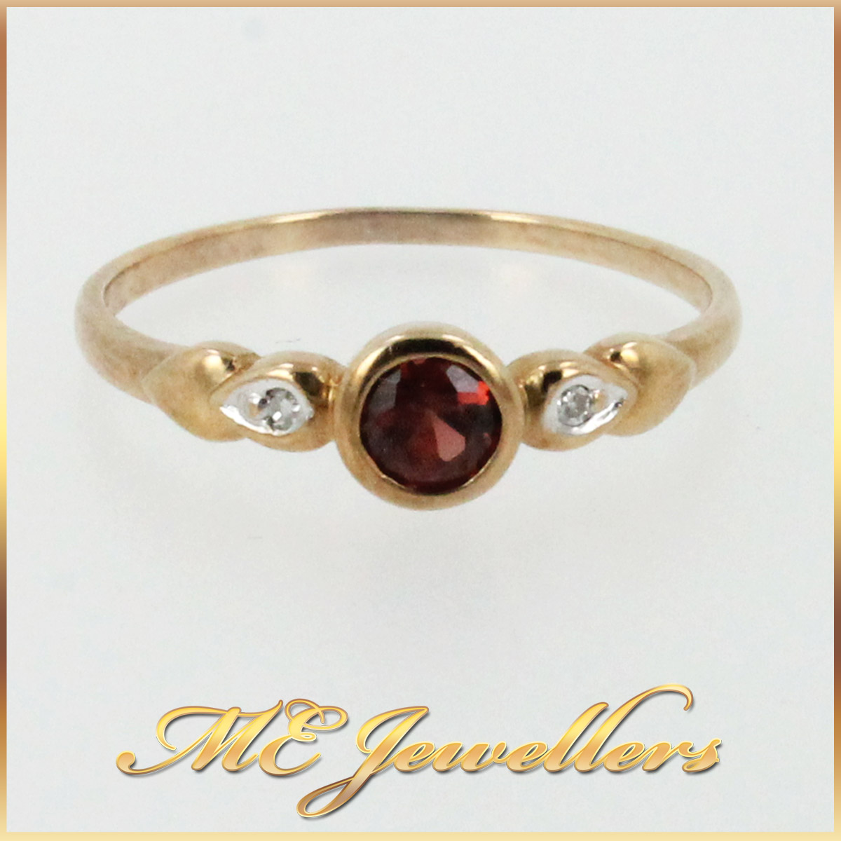 6247 Delicate Garnet Ring With Diamonds In 9K Yellow Gold main