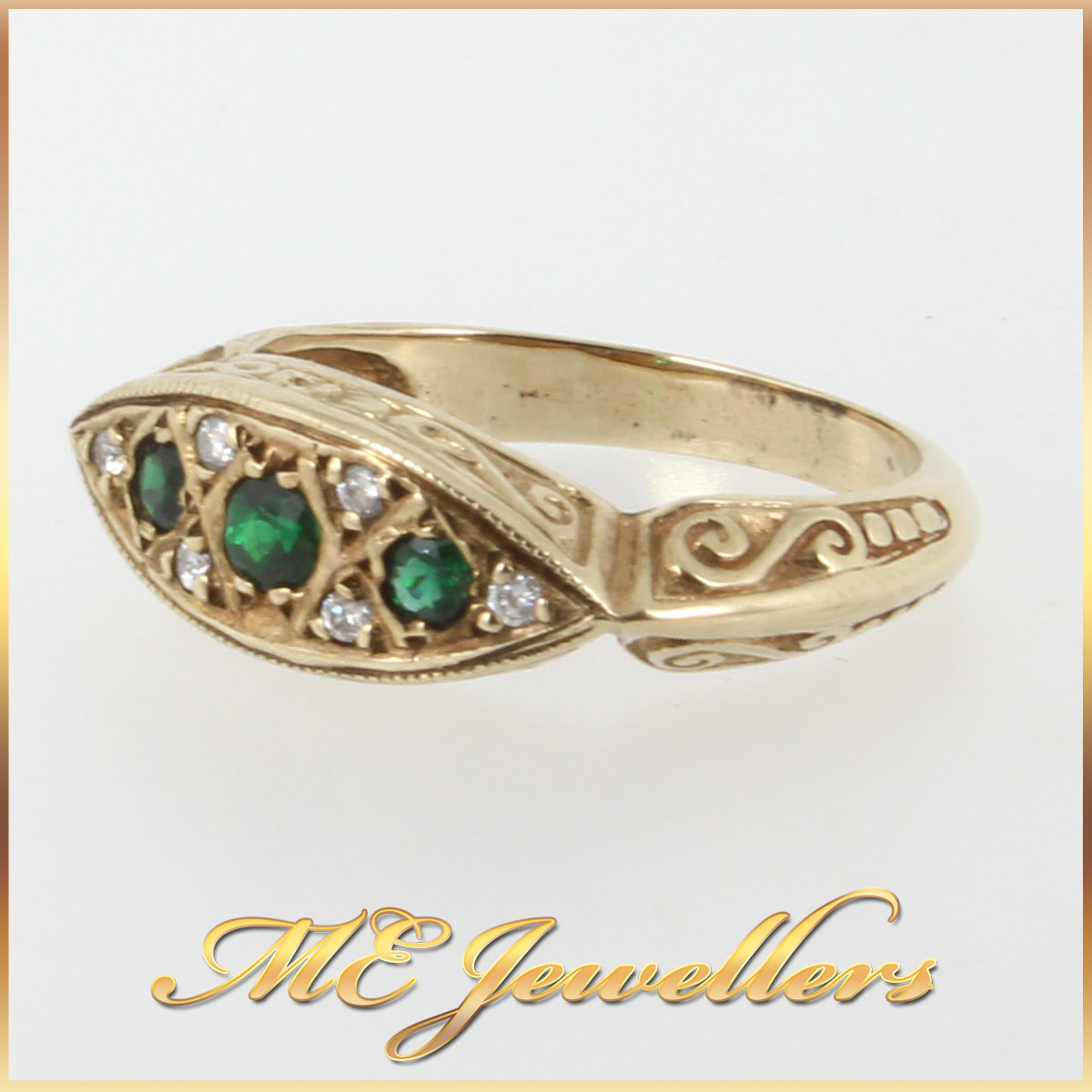 Solid 9k 9ct 9kt 375 Yellow Gold Unique Dress Ring Emerald Diamond Sz M 1 2