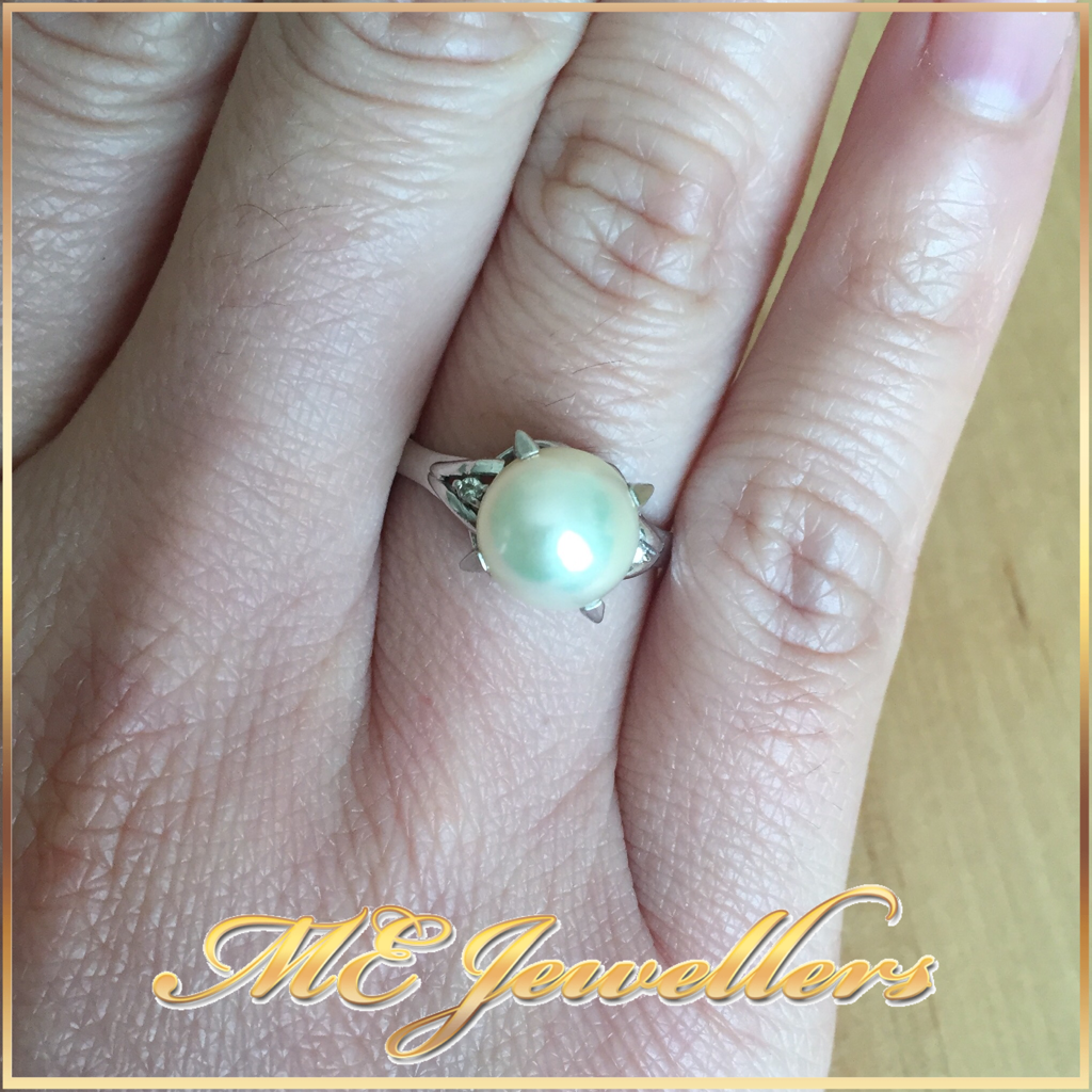 1377 Pearl Dress Ring In Platinum on Finger