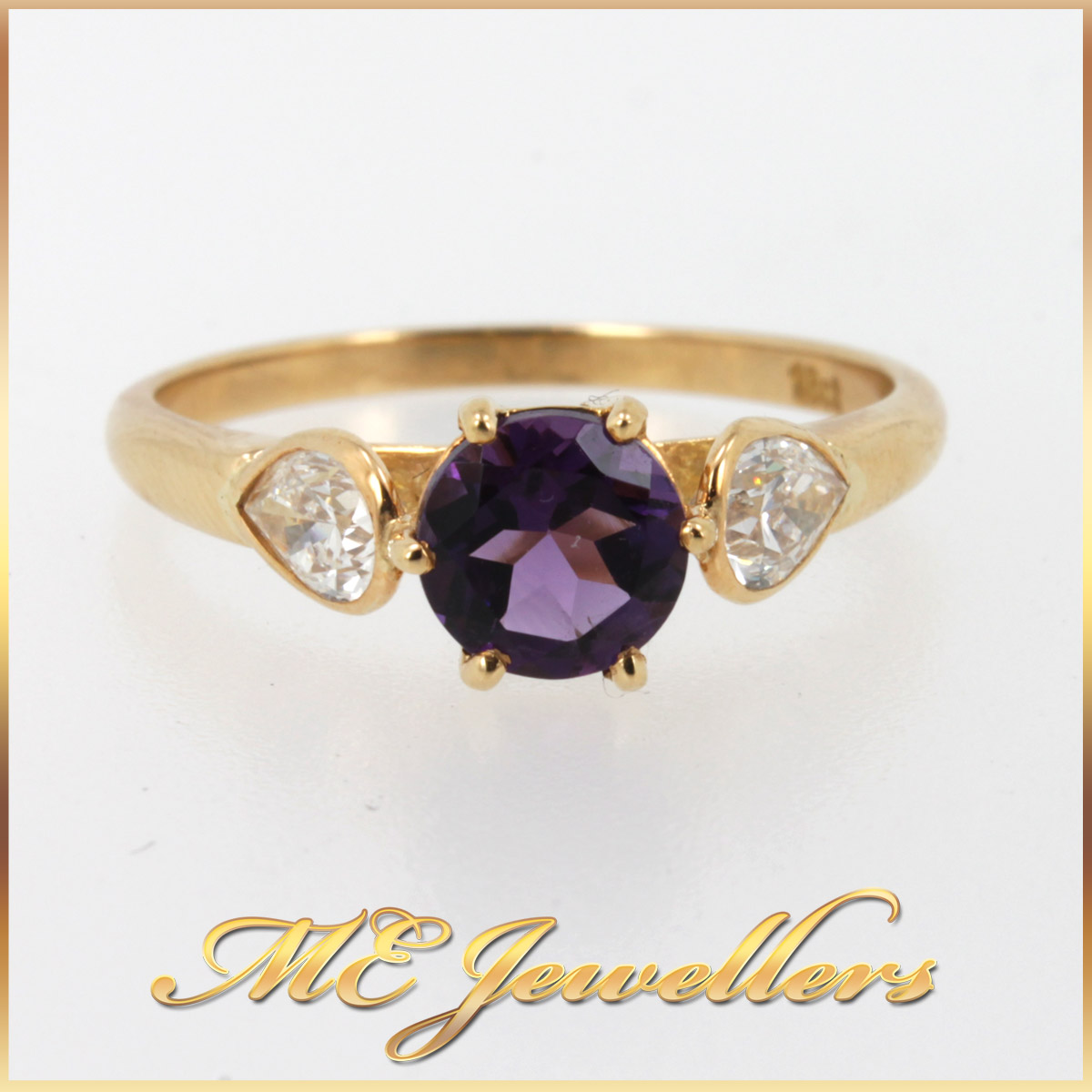 295 Amethyst Ring With Diamond In 18K Yellow Gold main