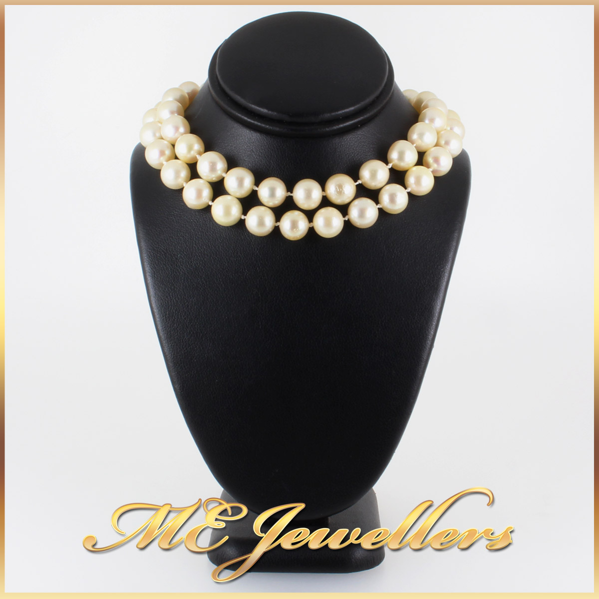5908 Akoya Pearl Necklace With Sapphire and Diamond Clasp in 14K Yellow Gold double wrap
