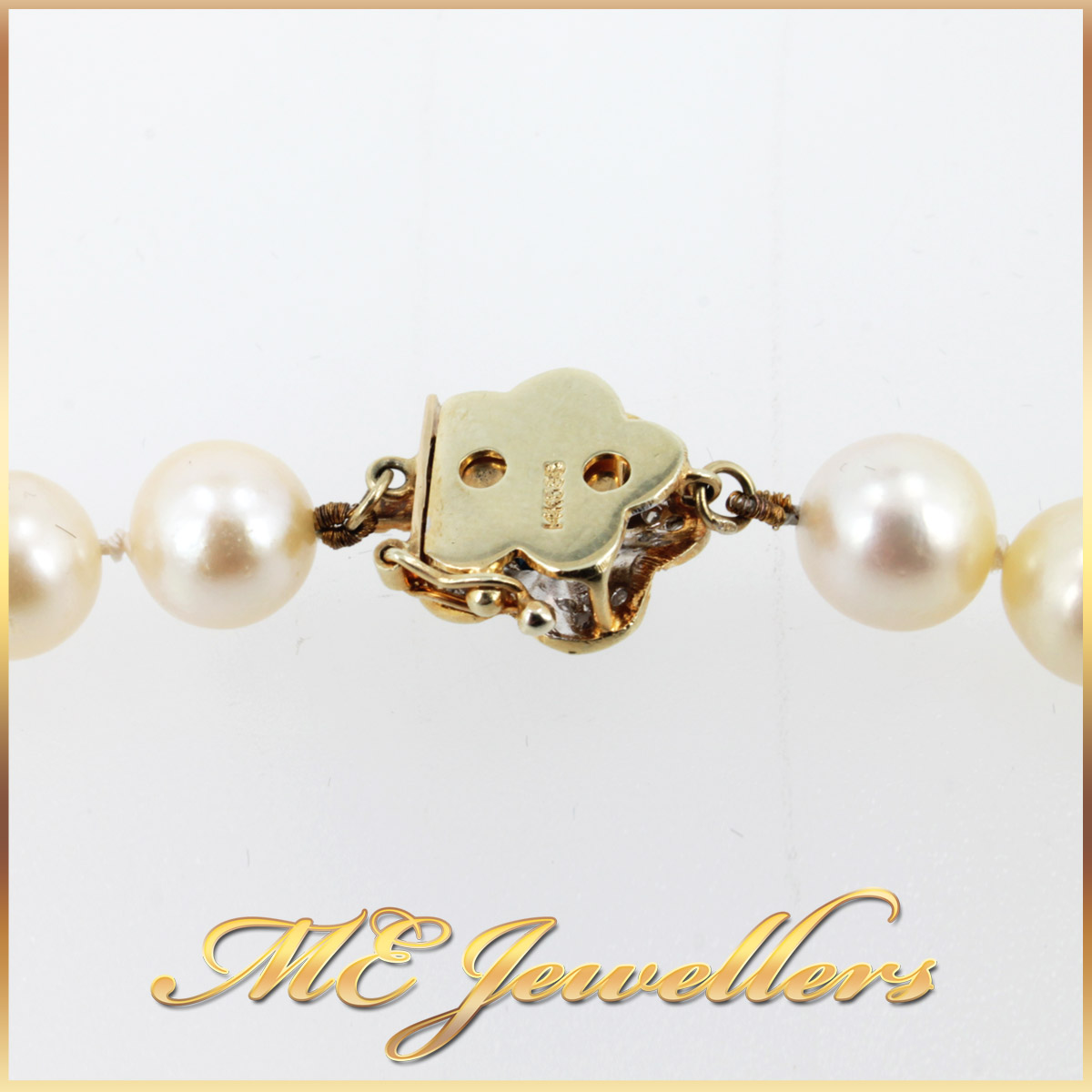 5908 Akoya Pearl Necklace With Sapphire and Diamond Clasp in 14K Yellow Gold stamp