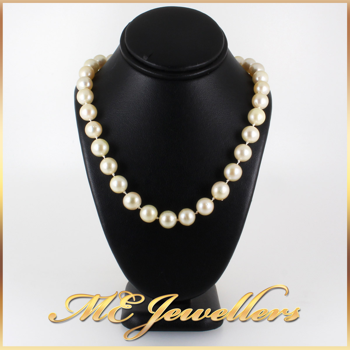 5908 Akoya Pearl Necklace With Sapphire and Diamond Clasp in 14K Yellow Gold single wrap