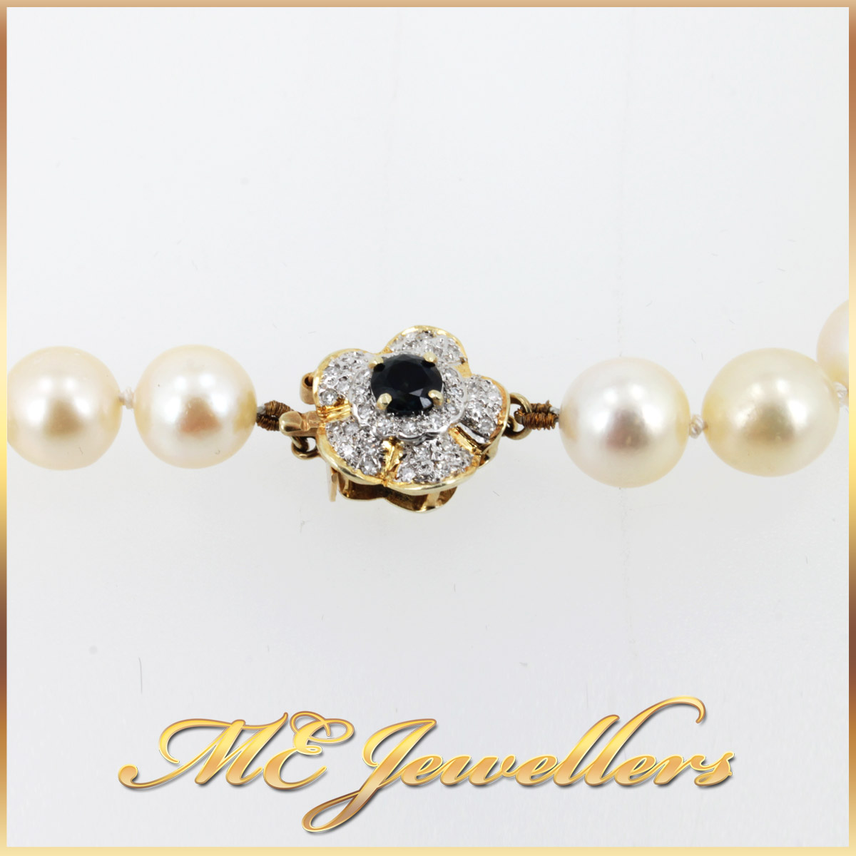 5908 Akoya Pearl Necklace With Sapphire and Diamond Clasp in 14K Yellow Gold clasp