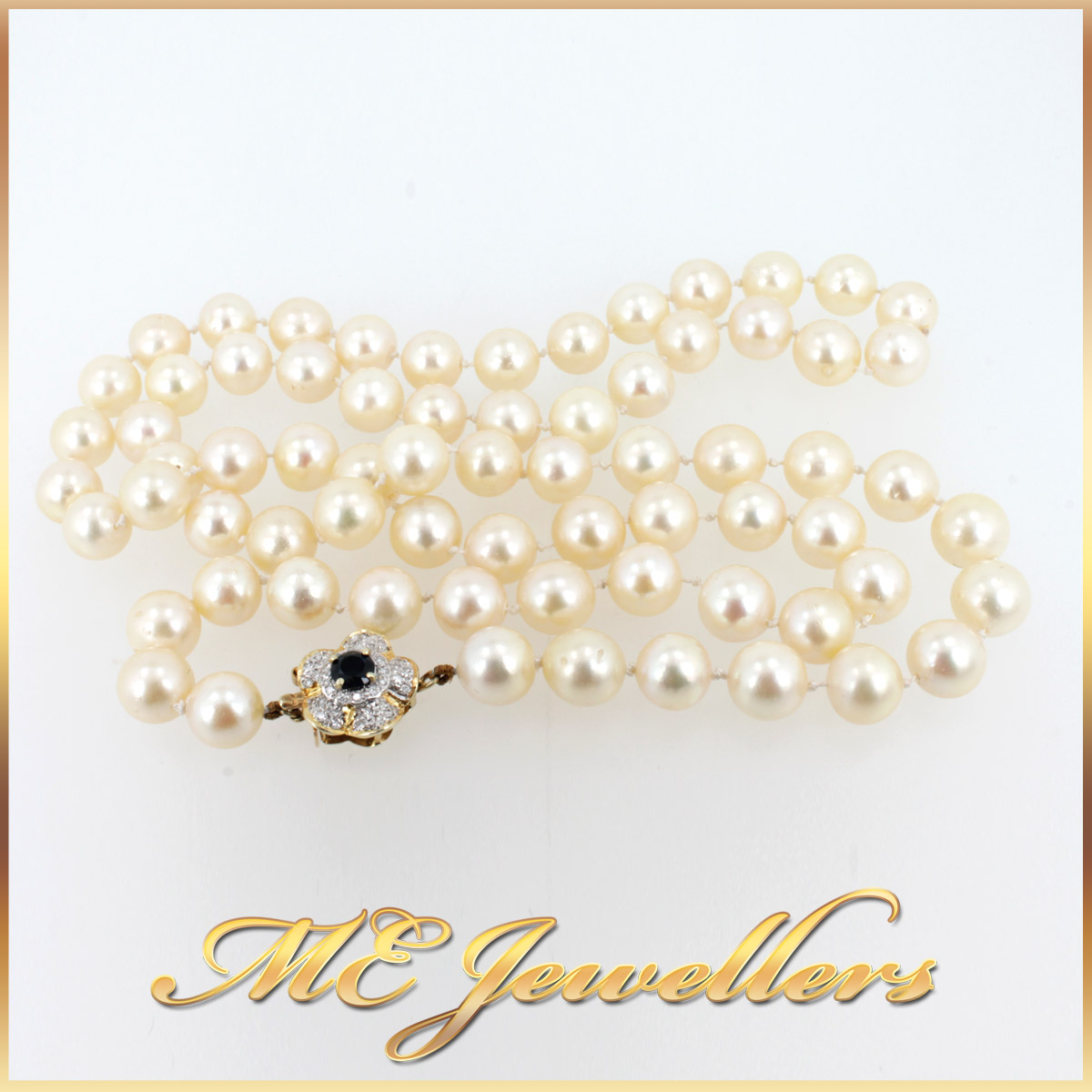 5908 Akoya Pearl Necklace With Sapphire and Diamond Clasp in 14K Yellow Gold overall