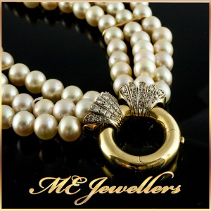 Triple Strand Akoya Pearl Necklace