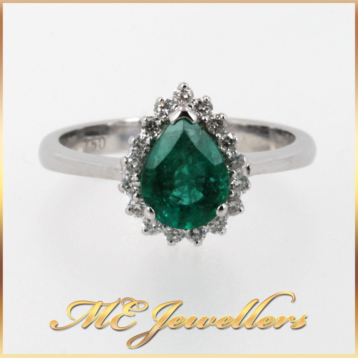 6400 Emerald Dress Ring With Diamonds In 18K White Gold main