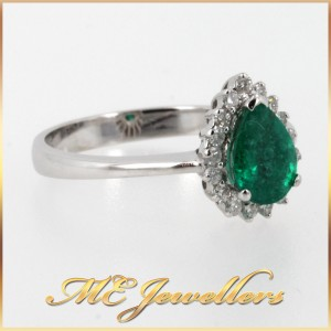 6400 Emerald Dress Ring With Diamonds In 18K White Gold side 2