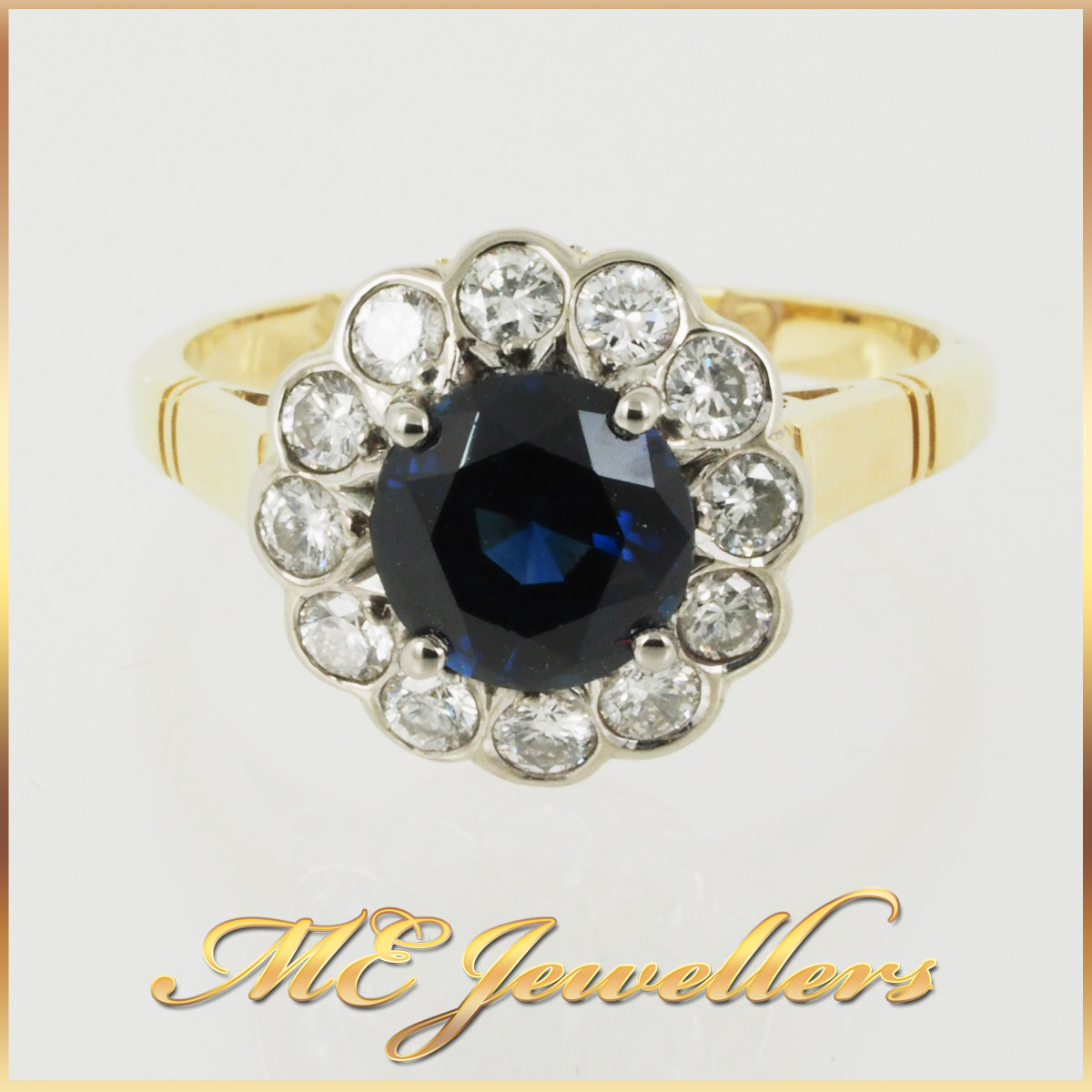6725_ Australian Sapphire Dress Ring 18K Yellow Gold 12 Diamonds 1