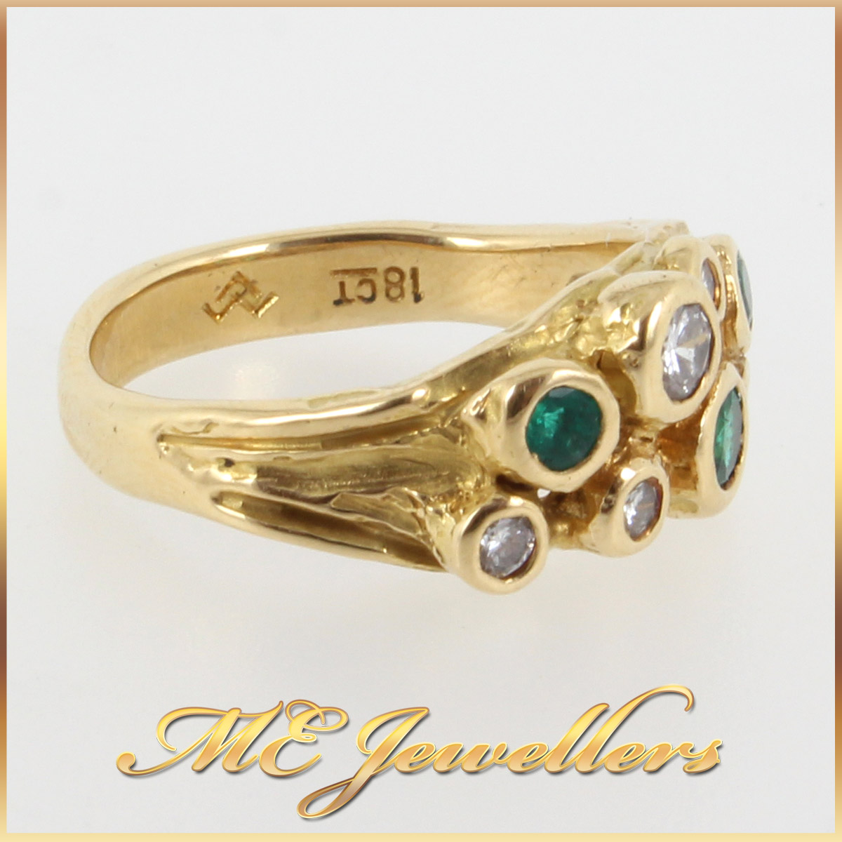 952 Emerald and Diamond Dress Ring In 18K YG side 1